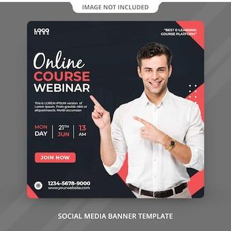 Kurs online webinar klasa transmisja na żywo i szablon korporacyjnych mediów społecznościowych