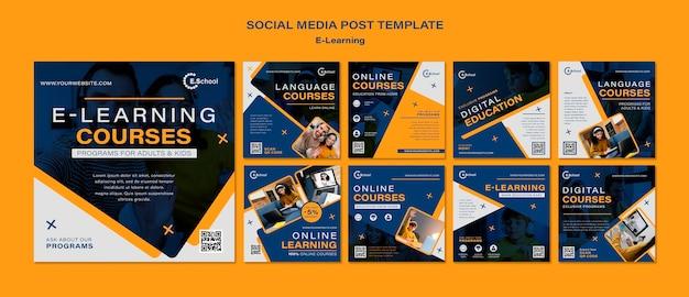 Kursy e-learningowe posty w mediach społecznościowych