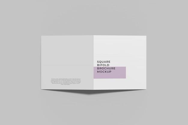 Kwadratowa bifold broszura makieta widok z góry anioła