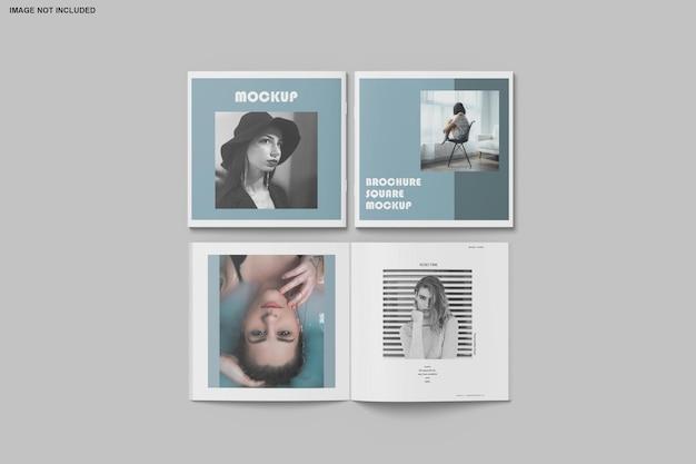 Kwadratowa broszura i makieta katalogu na białym tle