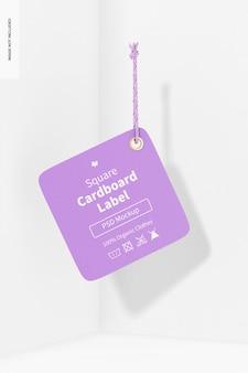 Kwadratowa etykieta kartonowa z makietą liny, wisząca