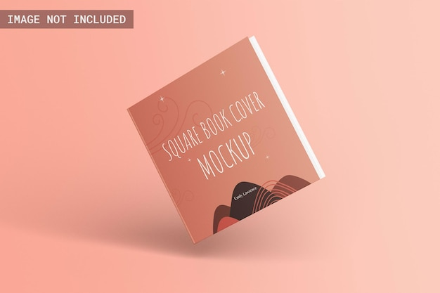 Kwadratowa książka w twardej oprawie makieta przedni kąt widzenia pływająca