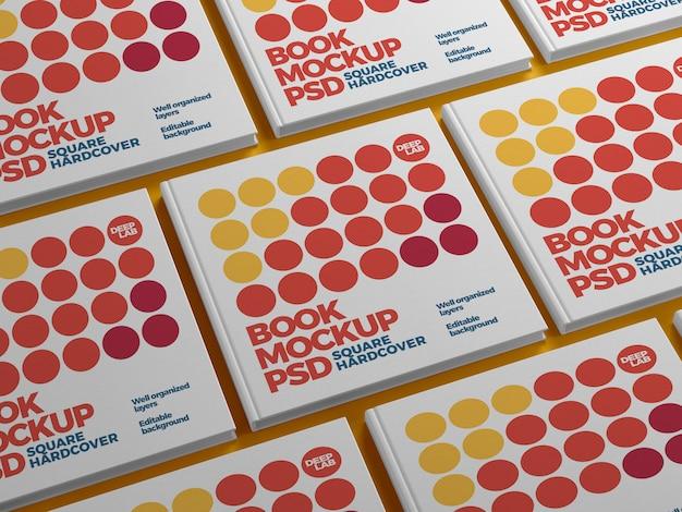 Kwadratowa książka w twardej oprawie z edytowalnym makietą koloru tła