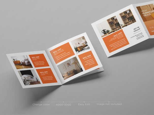 Kwadratowa makieta broszury bifold