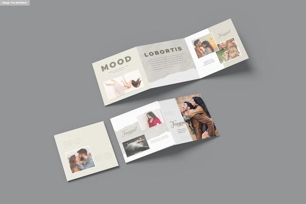 Kwadratowa makieta broszury trójdzielnej