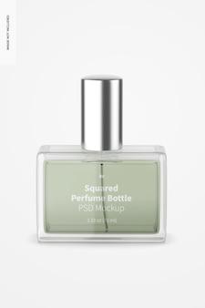 Kwadratowa makieta butelki perfum, widok z przodu