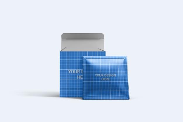 Kwadratowa saszetka z makietą opakowania pudełkowego