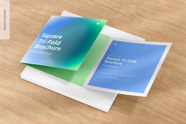 Kwadratowa trójdzielna broszura makieta, widok z góry