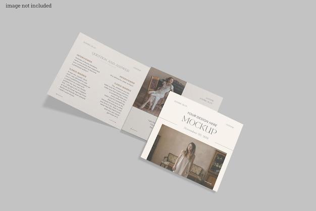 Kwadratowa trójdzielna makieta broszury