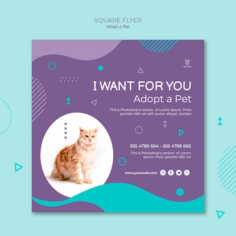 Kwadratowa ulotka adopcji zwierzaka