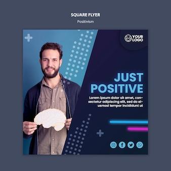 Kwadratowa ulotka dla optymizmu i pozytywizmu