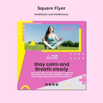 Kwadratowa ulotka do medytacji i uważności