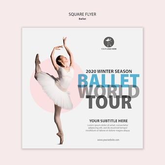 Kwadratowa ulotka do występów baletowych