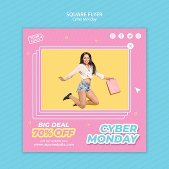 Kwadratowa ulotka na zakupy w cyber poniedziałek