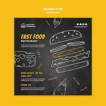 Kwadratowa Ulotka Restauracji Fast Food Darmowe Psd