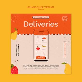Kwadratowa ulotka z usługą dostawy artykułów spożywczych