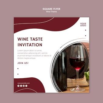 Kwadratowa ulotka zaproszenie na wino