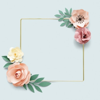 Kwadratowa złota rama z makietą papieru kwiatowego