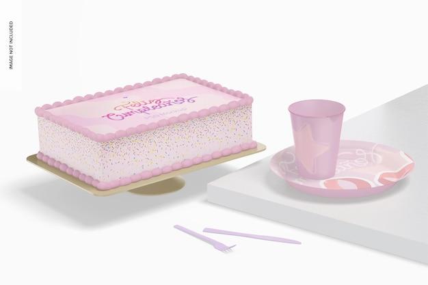 Kwadratowe ciasto z makieta talerzy