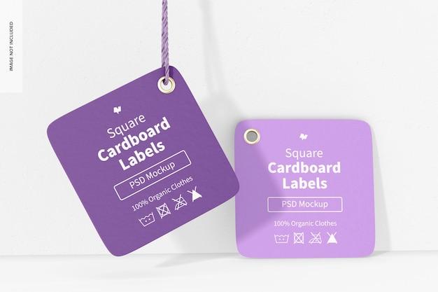 Kwadratowe etykiety kartonowe z makietą liny, perspektywa