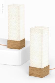 Kwadratowe lampy stołowe z drewna makieta, perspektywa