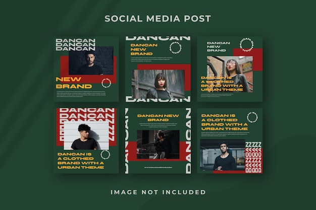 Kwadratowe media społecznościowe publikują szablon psd na instagramie