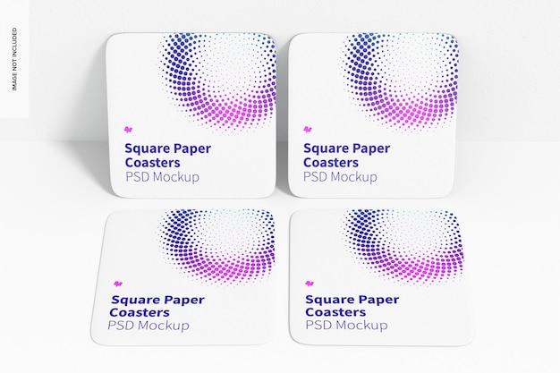 Kwadratowe podstawki papierowe z makietą kubka