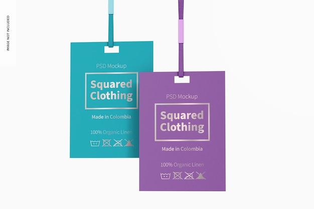 Kwadratowe tagi odzieżowe makieta