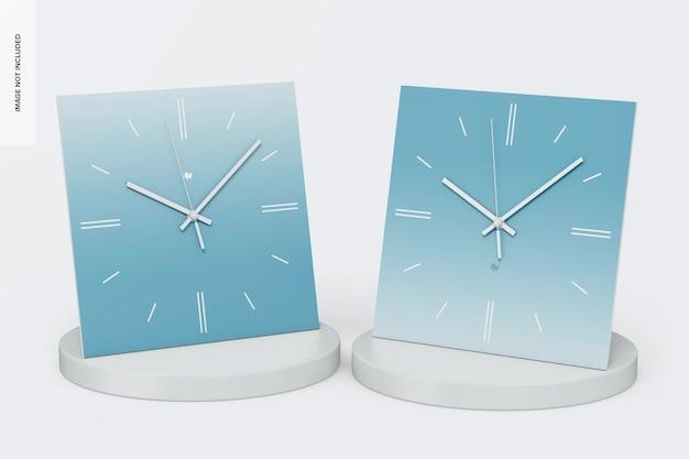 Kwadratowe zegary ścienne makieta