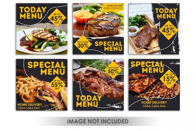 Kwadratowy baner lub post na instagramie w restauracji, grillu spożywczym, grillu