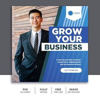 Kwadratowy baner media społecznościowe szablon ogłoszenia biznes niebieski