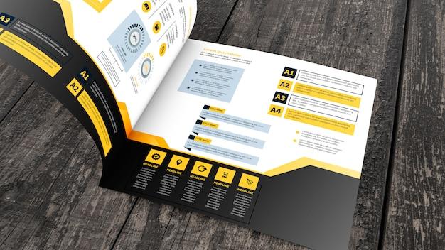 Kwadratowy broszura makieta na drewnianej powierzchni