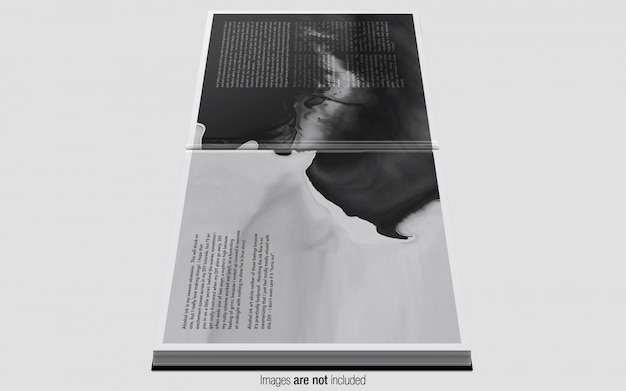 Kwadratowy magazyn psd makieta widok z boku