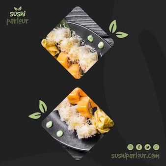 Kwadratowy post szablon dla japońskiej restauracji