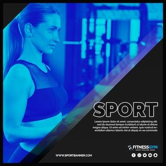 Kwadratowy post szablon z koncepcją fitness