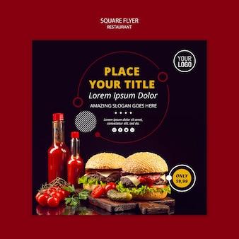 Kwadratowy projekt ulotki dla restauracji