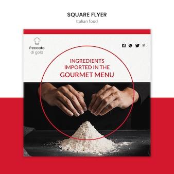Kwadratowy projekt ulotki kuchni włoskiej