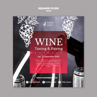 Kwadratowy projekt ulotki z degustacją wina