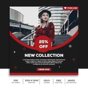 Kwadratowy szablon banner na instagram, moda modny czerwony czarny sprzedaż