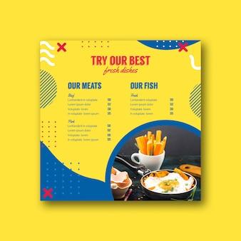 Kwadratowy szablon menu w stylu memphis