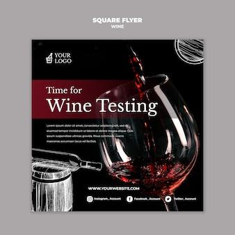 Kwadratowy szablon ulotki degustacja wina