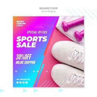 Kwadratowy szablon ulotki dla internetowej sprzedaży sportowej