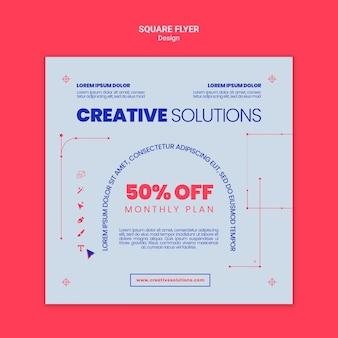Kwadratowy szablon ulotki dla kreatywnych rozwiązań biznesowych