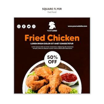 Kwadratowy szablon ulotki dla restauracji ze smażonym kurczakiem