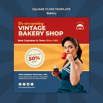 Kwadratowy szablon ulotki dla sklepu vintage z kobietą