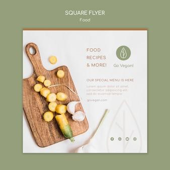 Kwadratowy szablon ulotki dla wegańskich potraw