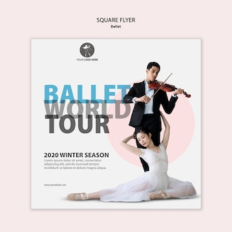 Kwadratowy szablon ulotki dla występu baletu