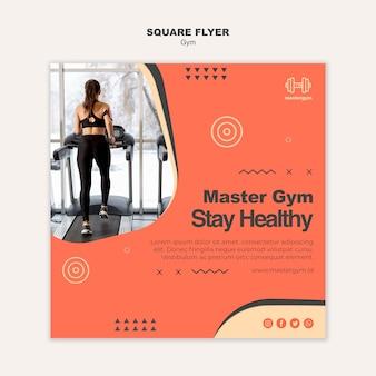 Kwadratowy szablon ulotki do ćwiczeń na siłowni