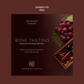 Kwadratowy szablon ulotki do degustacji wina z winogronami