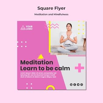 Kwadratowy szablon ulotki do medytacji i uważności